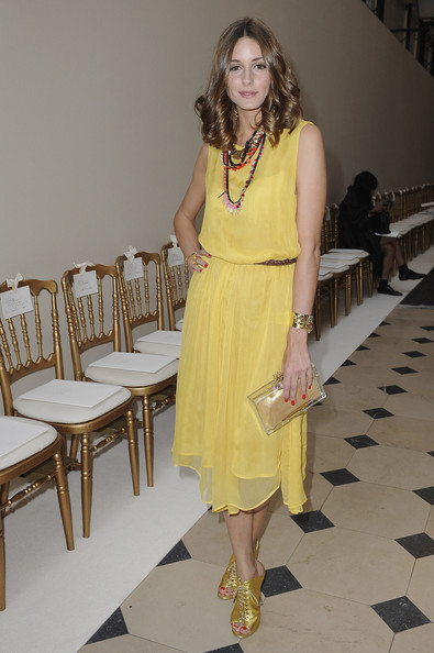 Olivia Palermo in Yellow Topshop dress