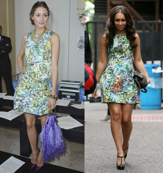 Olivia Palermo vs Rebecca Ferguson in Zara+lampshade floral dress