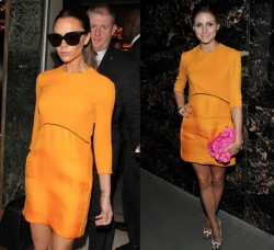 Victoria Beckham vs Olivia Palermo in Victoria Beckham tangerine dress