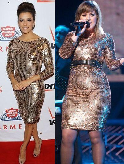Eva Longoria vs Kelly Clarkson in Alice + Olivia+Gold sequin dress