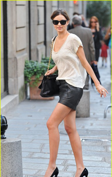 Miranda Kerr in Acne belted mini skirt in Paris