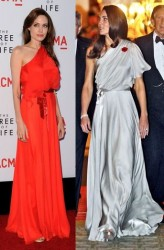 Angelina Jolie vs Kate Middleton in Jenny Packham
