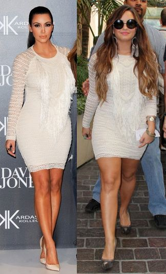 Kim Kardashian vs Demi Lovato in Isabel Marant+White lace dress