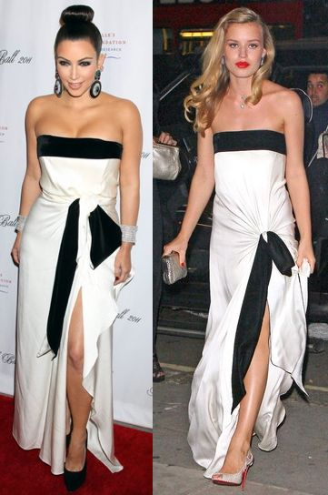 Kim Kardashian vs Georgia May Jagger in Yves Saint Laurent+Ecru knotted dress