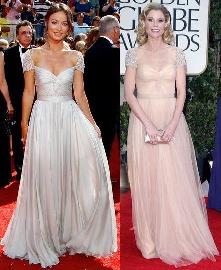 Julie Bowen vs Olivia Wilde in Reem Acra+Jewelled sleeve dress