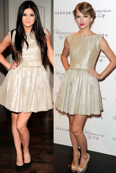 http://whoworeitbetter.co.uk/wp-content/uploads/2012/01/Kylie-Jenner-vs-Taylor-Swift-in-Contrarian+Gold-bow-dress.jpg