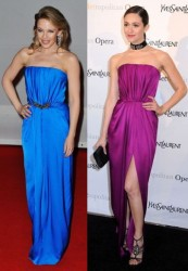 Kylie Minogue vs Emmy Rossum in Yves Saint Laurent+Strapless gown