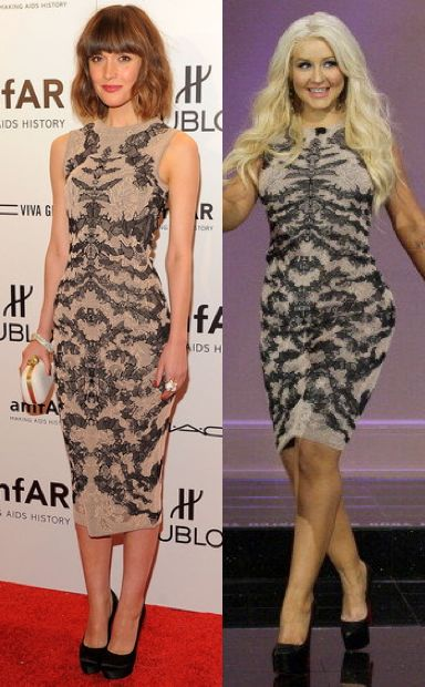 Rose Byrne vs Christina Aguilera in Alexander McQueen+Intarsia dress