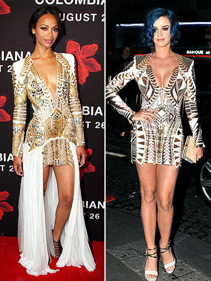 Katy Perry vs Zoe Saldana+Embellished mini-dress