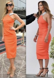 Abbey Clancy vs Jennifer Lopez in Victoria Beckham+Orange bodycon dress