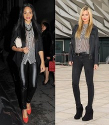 Alesha Dixon vs Laura Whitmore in Guess+Stripey shirt
