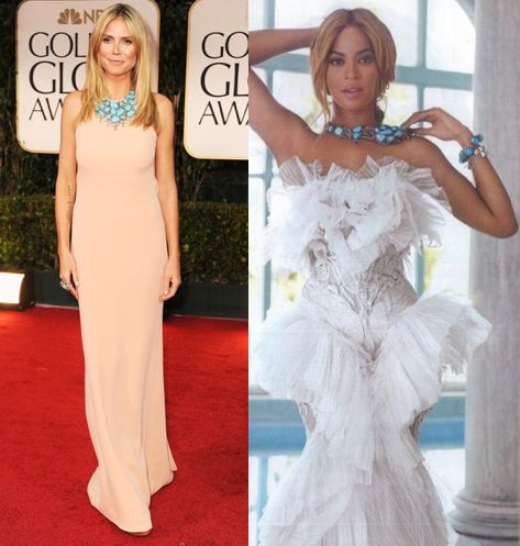 Beyonce vs Heidi Klum in Lorraine Schwartz necklace