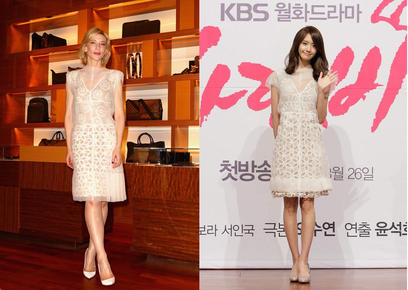 Cate Blanchett vs Yoona in Louis Vuitton+White embroidery dress