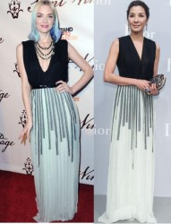Jaime King vs Michelle Yeoh in Christian Dior+Black and white gown