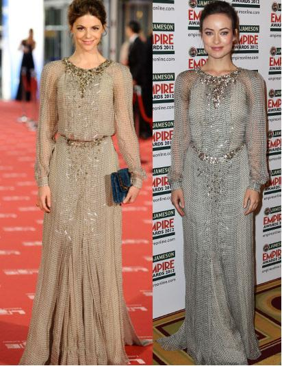 Manuela Velasco vs Olivia Wilde in Carolina Herrera+Chiffon Maxi Dress