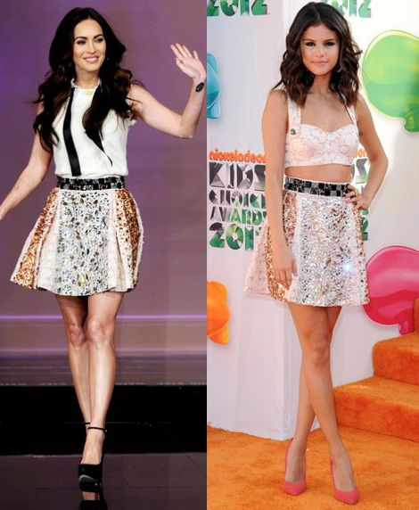 Megan Fox vs Selena Gomez in Dolce & Gabbana+sequin panel skirt