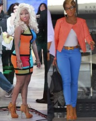 Nicki Minaj vs Mary J Blige in Giuseppe Zanotti heels+Tan peep toe heels