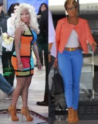 Nicki Minaj vs Mary J Blige in Giuseppe Zanotti heels+Tan peep toe heels