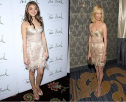 Sarah Hyland vs Anne Heche in Chagoury Couture+Cream feather dress