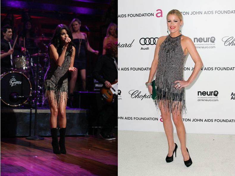 Selena Gomez vs Kathleen Robertson+Fringed flapper dress