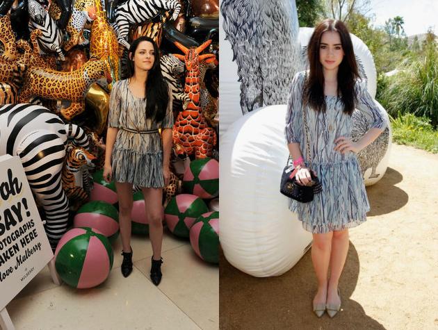 Kristen Stewart vs Lily Collins+Printed dress