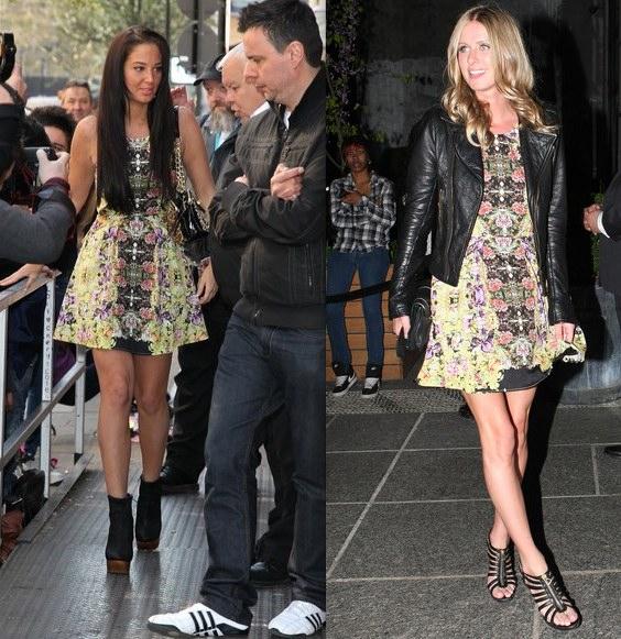 Tulisa Contostavlos vs Nicky Hilton in Topshop+Origami dress