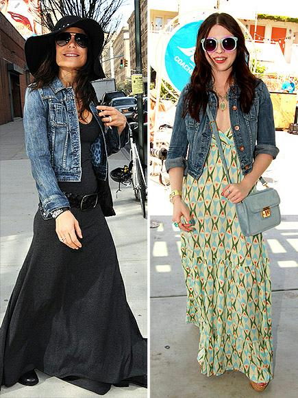 Bethenny Frankel vs Michelle Trachtenberg in Express Denim+denim jacket