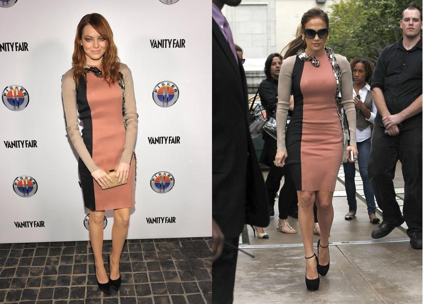 Emma Stone vs Jennnifer Lopez in Lanvin+Snake panel dress