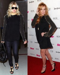 Fergie vs Lindsey Lohan in 3.1 Phillip Lim+Black beaded sleeve top