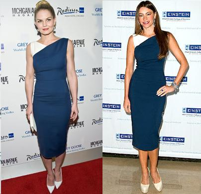 Jennifer Morrison vs Sofia Vergara in Victoria Beckham+Navy and white dress