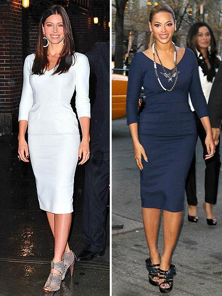 Jessica Biel vs Beyonce in Victoria Beckham+Tailored dress