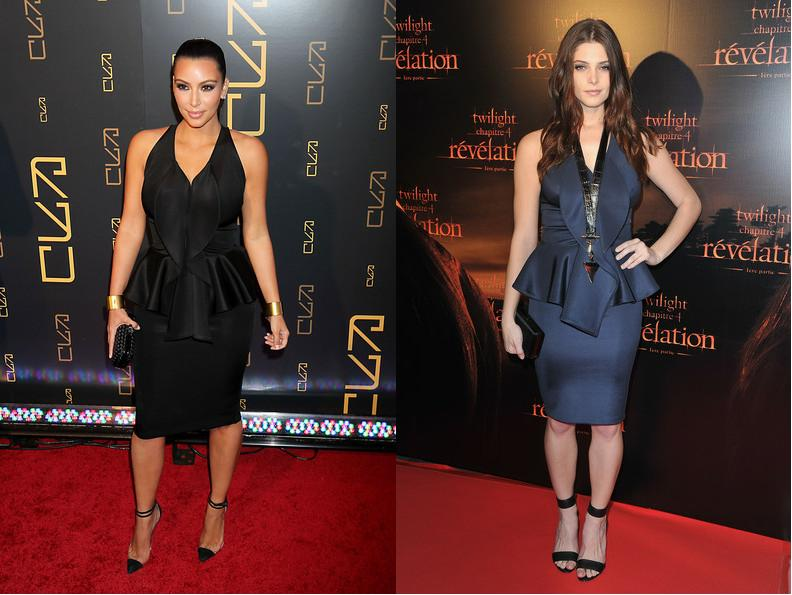 Kim Kardashian vs Ashley Greene in Givenchy+peplum dress