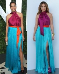 Rosario Dawson vs Jennifer Lopez in Salvatore Ferragamo+Colour block dress