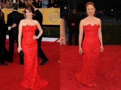 Tina Fey vs Chelsea Clinton in Oscar de la Renta+Red lace Dress
