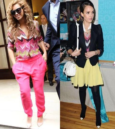 Beyonce Knowles vs Jessica Alba in Carven+Zigzag shirt