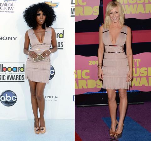 Brandy Norwood vs Kellie Pickler in Herve Leger+Fringe Dress