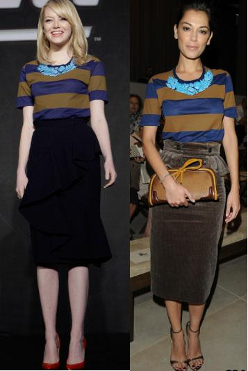 Emma Stone vs Giorgia Surina in Burberry Prorsum+striped t-shirt