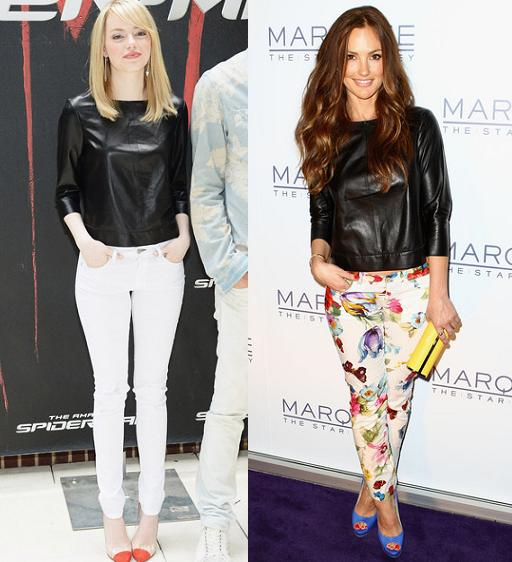 Emma Stone vs Minka Kelly in J Brand+Leather t-shirt