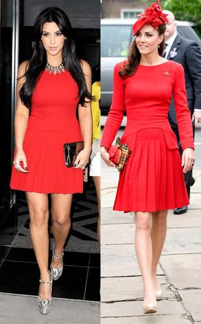 Kim Kardashian vs Kate Middleton in Alexander McQueen+Red dress