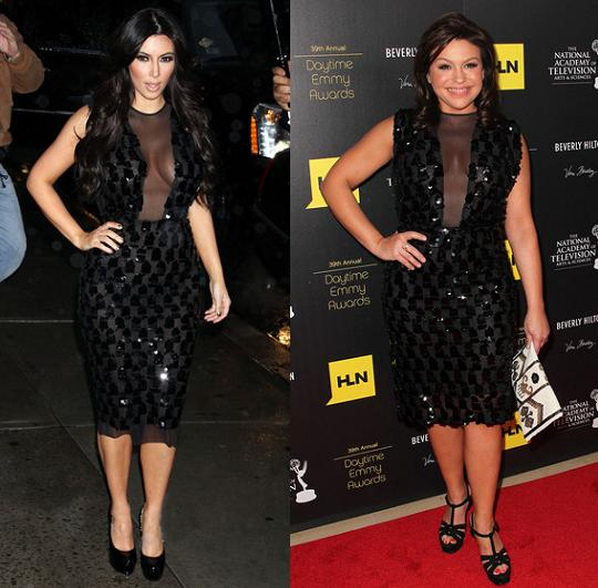Kim Kardashian vs Rachael Ray in Marc Bouwer+Mesh and sequin dress