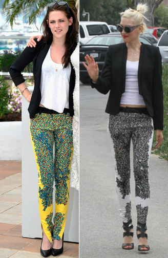 Kristen Stewart Vs Gwen Stefani in Balenciaga+Printed trousers