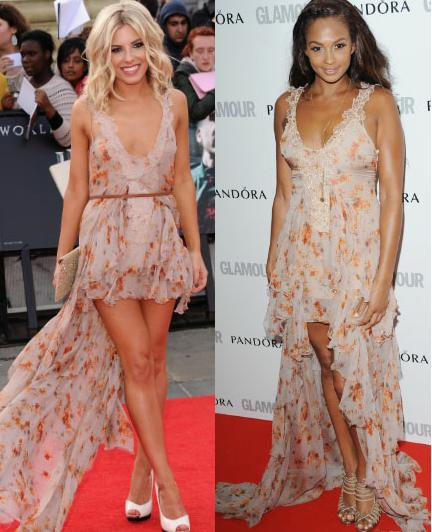 Mollie King vs Alesha Dixon in Julien MacDonald+floral mixi dress