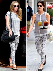 Amanda Seyfried vs Ashley Greene in J Brand+printed jeans