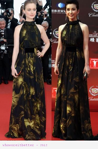 Bella Heathcote vs Li Bingbing in Gucci+printed maxi dress