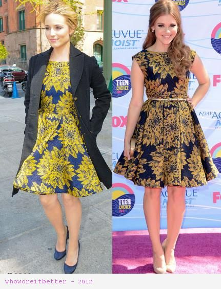 Dianna Agron vs Holland Roden in Alice+Olivia+fifties style dress