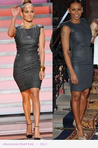 Jennifer Lopez vs Mel B in Lanvin+grey sheath dress