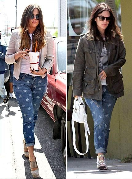 Khloe Kardashian vs Rachel Bilson in CurrentElliott+star print jeans