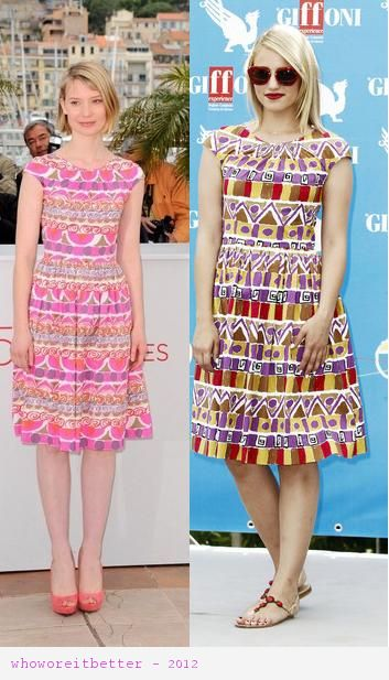 Mia Wasikowska vs Dianna Aagron in Prada+printed skater dress