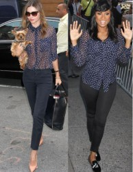 Miranda Kerr vs Jennifer Hudson in Equipment+star print blouse