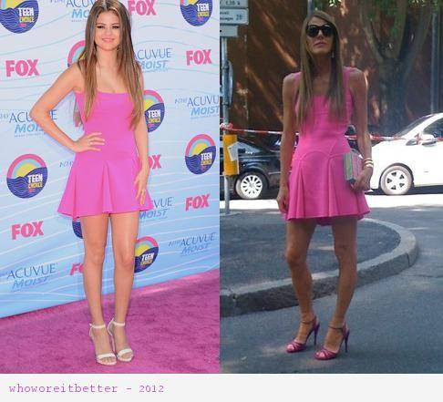 Selena Gomez vs Anna Dello Russo in Dsquared2+pink Skater dress